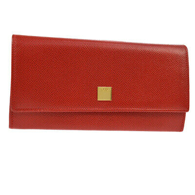 Authentic CELINE Logos Bifold Long Wallet Red Leather Italy Vintage AK33551