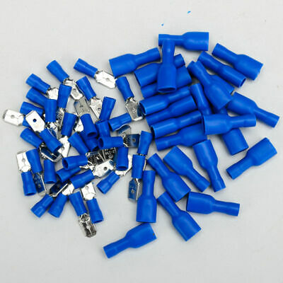 100Pcs SPADE CRIMP TERMINALS Insulated Connectors Male And Female Cable Kit Blue