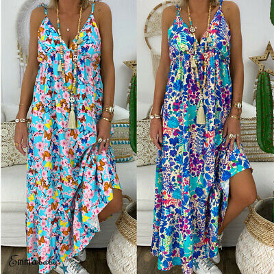 New Women Summer Beach Strappy V-neck Dress Boho Floral Sundress Holiday Clothes