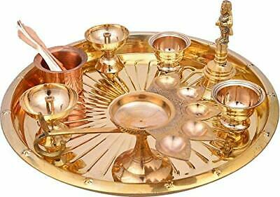 Styloculture Traditional Gold Plated Brass New Pooja Thali Set 7 Pcs Box Packing
