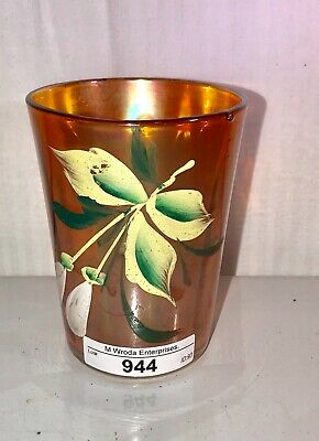 Magnolia and drape Carnival Glass Tumbler Marigold Hand Painted Nice Color
