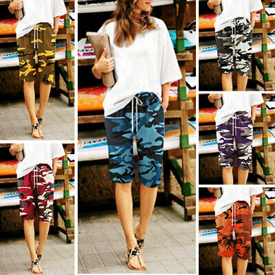Women's Camouflage Military Army Combat Cargo Shorts Ladies Casual Beach Pants