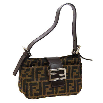 188f7fad251 Auth FENDI Zucca Pattern Hand Bag Brown Canvas Leather Vintage Italy AK34255