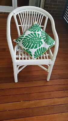 Vintage retro white rattan (?) cane armchair/chair shabby chic hamptons beach