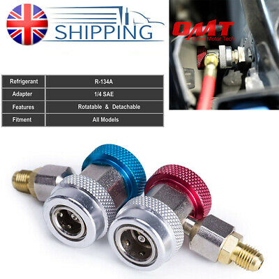 2X Auto Car Air Con Connector For Manifold Gauge Adapter R134A Lo/Hi Coupler Set