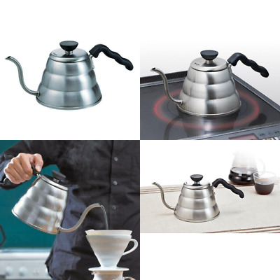 Hario Small Stainless Steel Buono V60 Pourover Kettle Steel, 1 Litre, Pack of