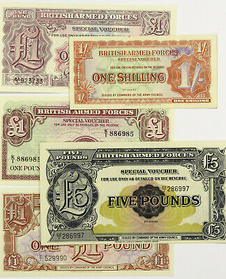 Lot of 5 British Armed Forces Notes ~ Shilling, Pound x 3, 5 Pounds