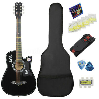 """38"""" 6 String Wood Acoustic Guitar Beginner Gift with Bag Picks Pitch Pipe Black"""