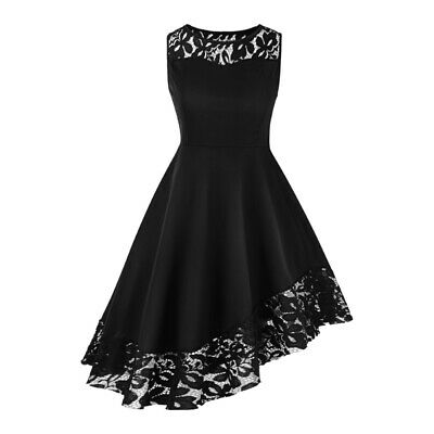 UK Womens Evening Formal Party Ladies Bridesmaid Lace Mini Dress Prom Long Gown