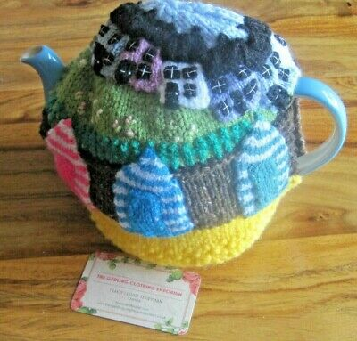 Hand Knitted Chunky Easter Coastal Beach Huts Tea Cosy. Fab Detail