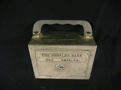 Vintage Traveling Bank THE PEOPLES BANK #502 Erie, Pa. : W.F. Burns Co, Chicago