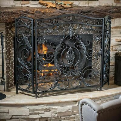 Fireplace Screen Decorative Iron Fire Guard Cover Door Ornate Panel Fence Metal