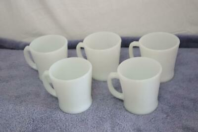 Vintage Set of 5 Anchor Hocking Fire King Milk Glass D Handle Coffee Cups Mugs