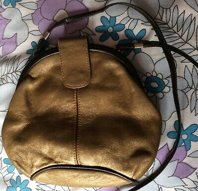 vintage 80s Dolcis bronze & brown leather small hinged cross-shoulder pouch bag