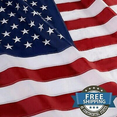4'x6' FT American Flag USA US U.S. Sewn Stripes Embroidered Stars Brass Grommets