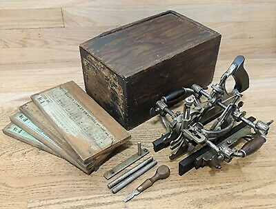 1895 STANLEY No. 55 UNIVERSAL COMBINATION PLANE w/CUTTERS in ORIGINAL BOX-TOOL