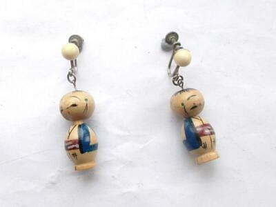 Vintage Art Deco Chinese Wooden Hand Painted Figural Rare Bead Earrings
