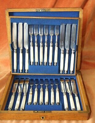 ANTIQUE DESSERT KNIVES & FORKS MOTHER-of-PEARL & SILVER PLATE~12 SETTINGS
