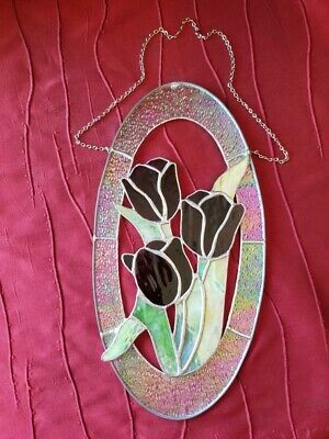 Leaded Stained Glass  Oval Sun Catcher Panel Hanging With Chain 16x9