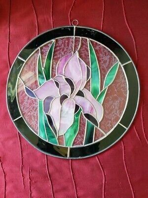 Leaded Stained Glass Floral Round Sun Catcher  Hanging 13in