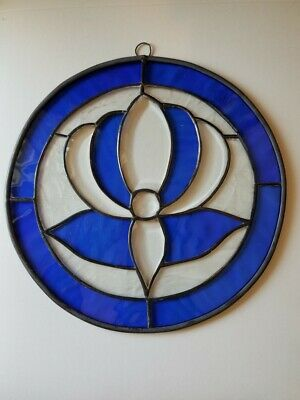 Leaded Stained Glass Blue Round Sun Catcher Panel Hanging 10in