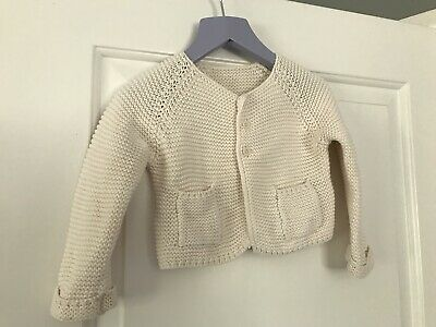 MARKS AND SPENCER GIRLS CREAM KNITTED CARDIGAN TOP AGE 9-12 Months