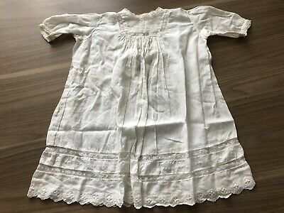 Antique White Small Child's Or Baby Dress For Large Bisque Doll Christening