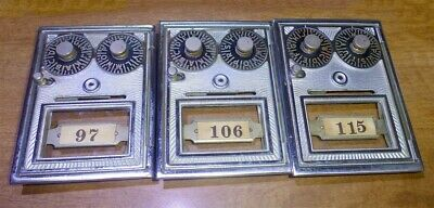 3 Vintage dual dial Post Office Box doors with working combination locks