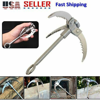 Foldable Stainless Steel Grappling Hook Climbing Survival 3 Claws Carabiner Hook