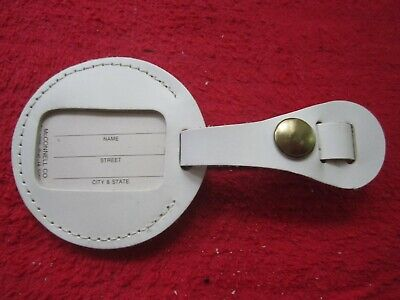 Vintage Nos White Leather Luggage Bag Suitcase Name Id Identification Tag