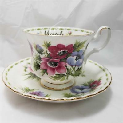 Royal Albert Flower of The Month Series March Anemones Cup and Saucer