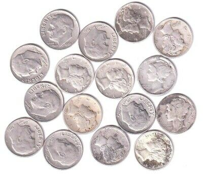United States Nine Silver Mercury Dimes And Seven Copper-Nickel Roosevelt Dimes