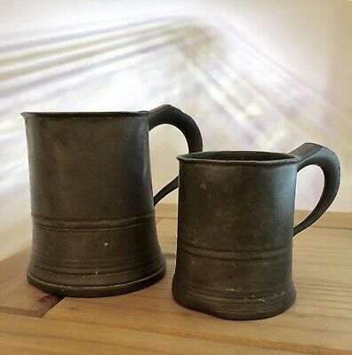 Pair Of Antique Lawden & Poole Georgian Pewter Mugs Tankards - Pint & Half Pint