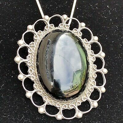 Antique Vintage Sterling Silver 925 Large Oval Black Onyx Pin Brooch
