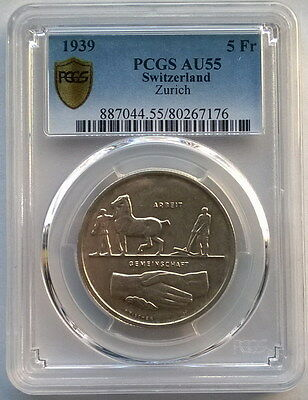 Switzerland 1939 Zurich Exposition 5 Francs PCGS AU55 Silver Coin