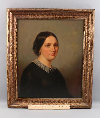 19thC Antique Charleston SC Artist American Young Lady, Portrait Oil Painting NR