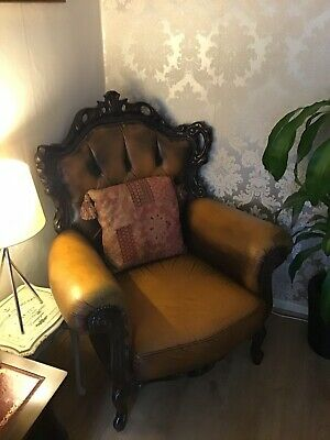 Antique Vintage Italian Chesterfield Queen Anne Leather Wing Back Chair