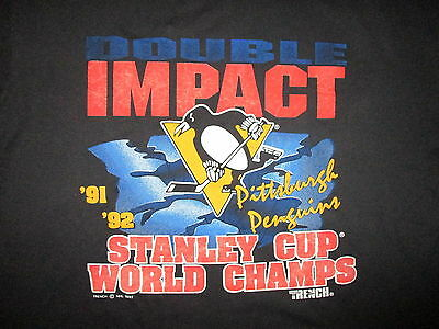 vtg 90s PITTSBURGH PENGUINS T SHIRT Repeat Back To Stanley Cup Champions 91-92
