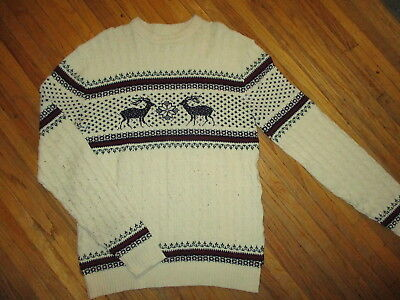 vtg 1970s 1980s LORD JEFF TALL FELLOW SWEATER Deer Winter Knit LARGE tall