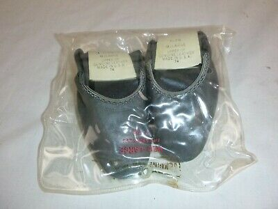 NOS Vtg Folding Gray Leather Slippers Hard Sole Size 7-7.5 Deadstock Made in USA