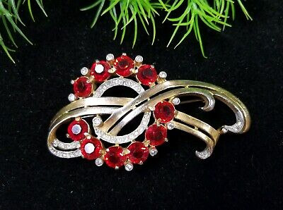Vintage Antique Stunning ART DECO Pin Brooch Red Unfoiled Stones Goldtone