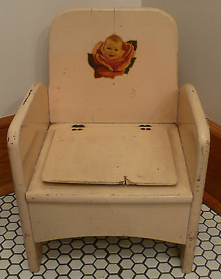 Vtg Antique Primitive Folk Art White Painted Potty Chair Baby Rosebud Decal