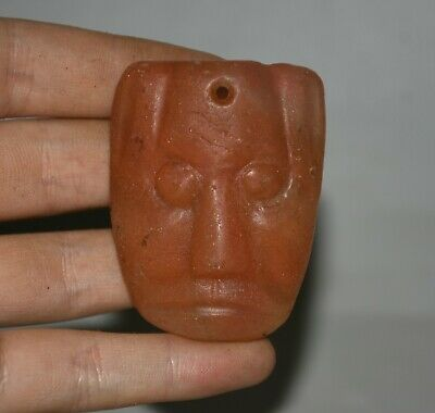 "2.2""Good Rare China Hongshan Culture Old Red Crystal Sun God Face Amulet Pendant"