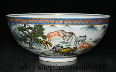 """9.2"""" Qianlong Marked Old Chinese Qing Colour Enamels Porcelain Horse Bowl Bowls"""