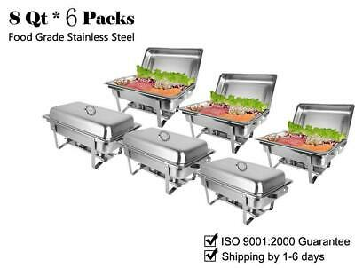ROVSUN 6 PACK CATERING STAINLESS STEEL CHAFER CHAFING DISH SETS  9L / 8QT Silver