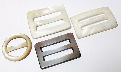 4 Antique Vintage buckles buckle lot mother  of pearl for repair #lot260