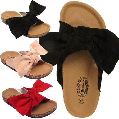Kids Girls Infants Bow Knot & Faux Suede Holidays Children Flat Sandals Shoes