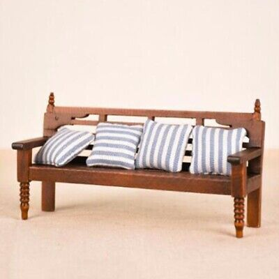 Miniature Bench Couch + Cushions Furniture For 1:12 Dollhouse Room Decoration US