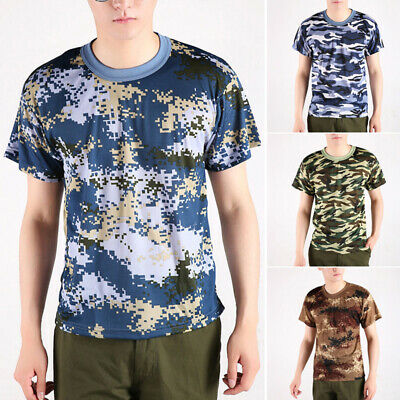Men's Summer Round Neck Sports Tops Camouflage Casual Loose T-shirt Blouse Tee
