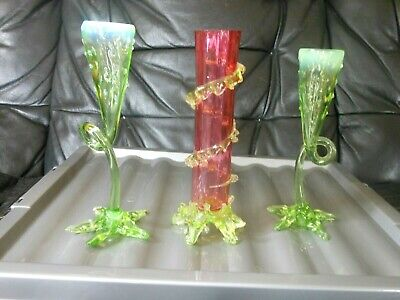 2 Antique Uranium Glass THORN Candlesticks & CRANBERRY & GREEN Vase JOHN WALSH ?